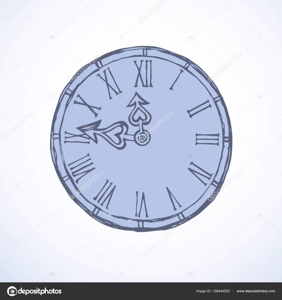 Horloge. Dessin Vectoriel — Image Vectorielle Marinka tout Dessin D Horloge