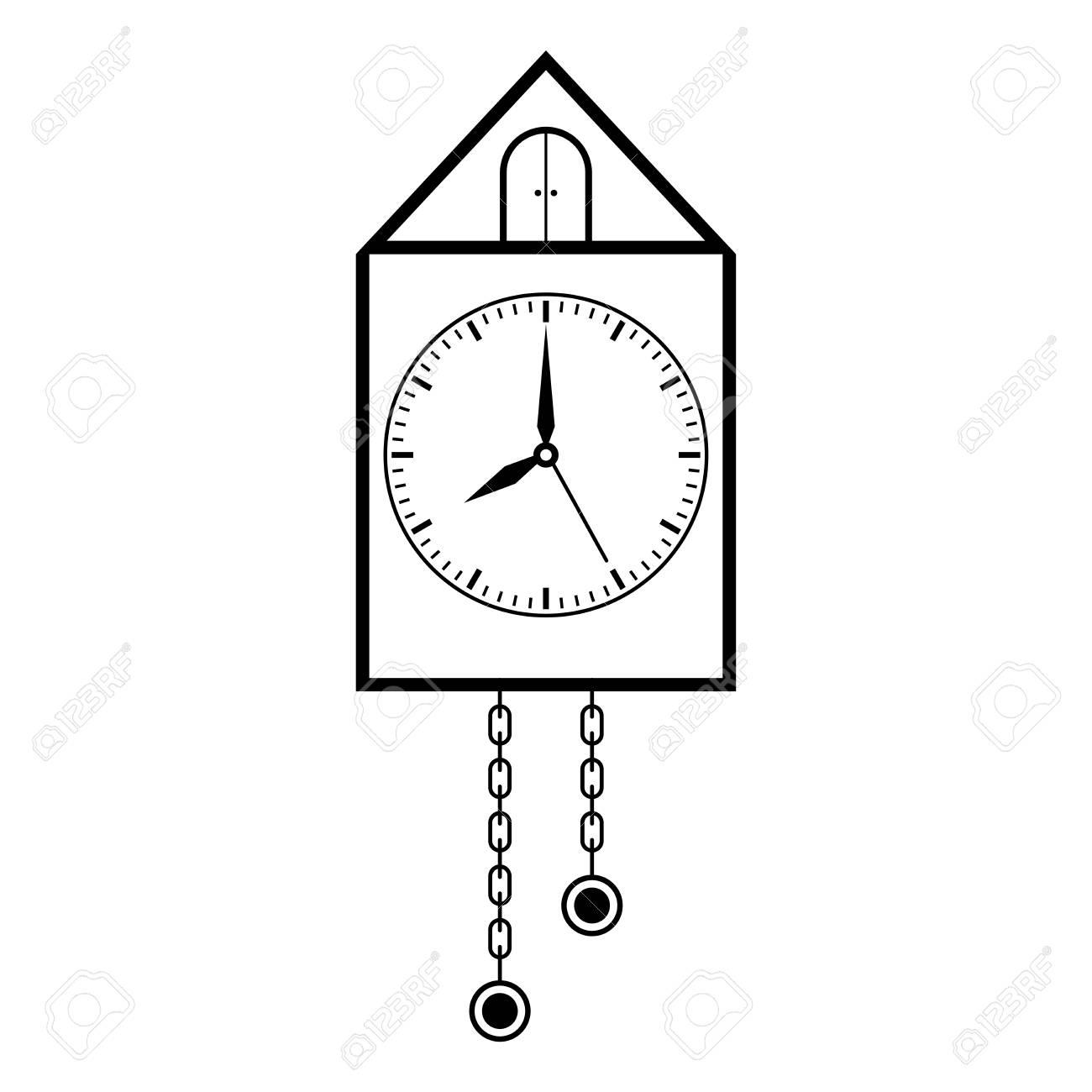 Horloge Rétro Pendule De Pendule Dessin À La Main. Illustration Vectorielle serapportantà Dessin D Horloge