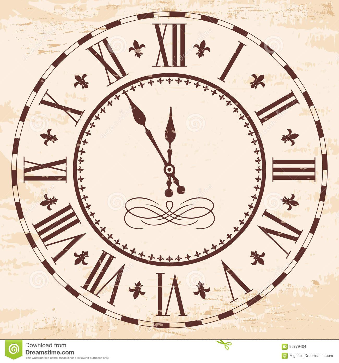 Horloge Romaine Élégante Illustration De Vecteur à Dessin Chiffre Romain