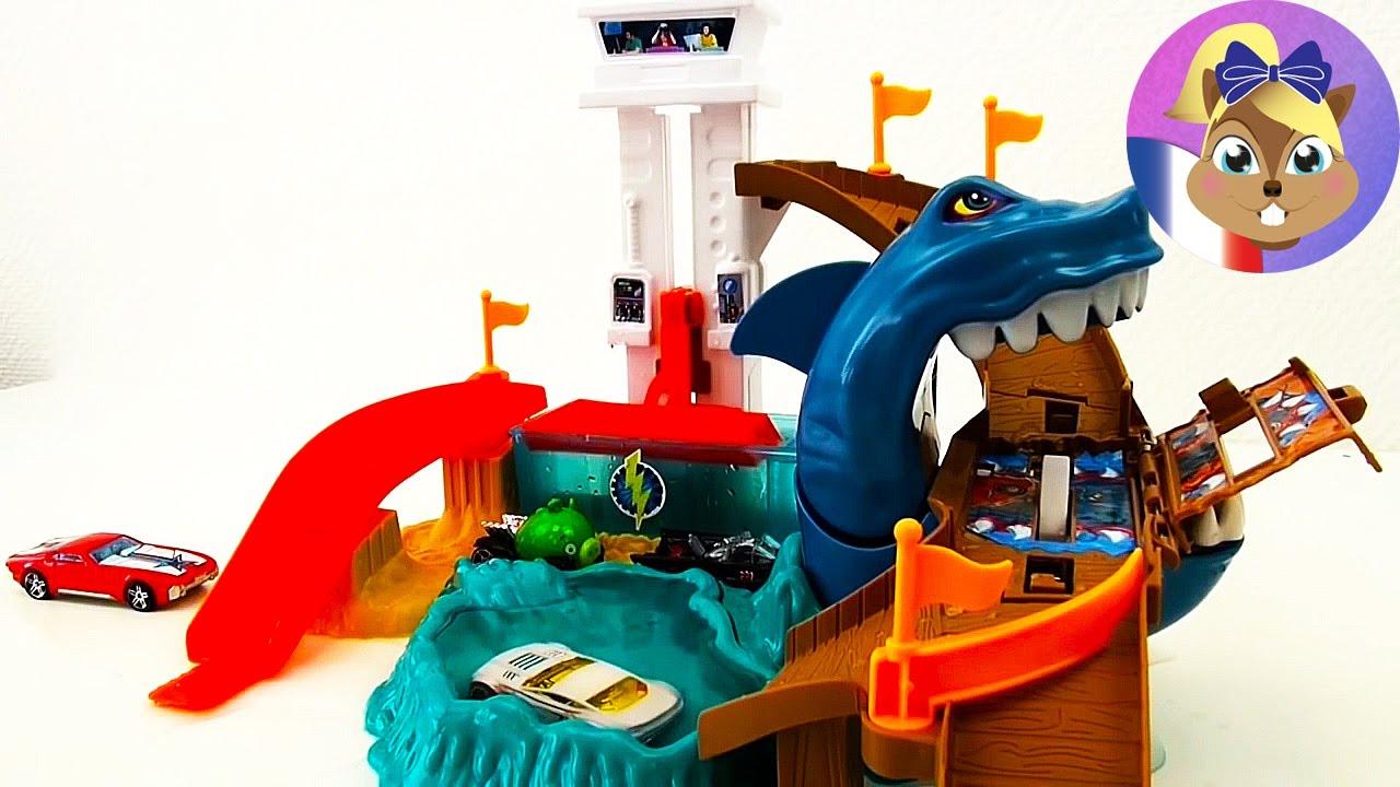 Hot Wheels Cars Color Changers Shark Attack - Piste De Jeu Requin Attaque  (Démo) intérieur Requin Jeux Video