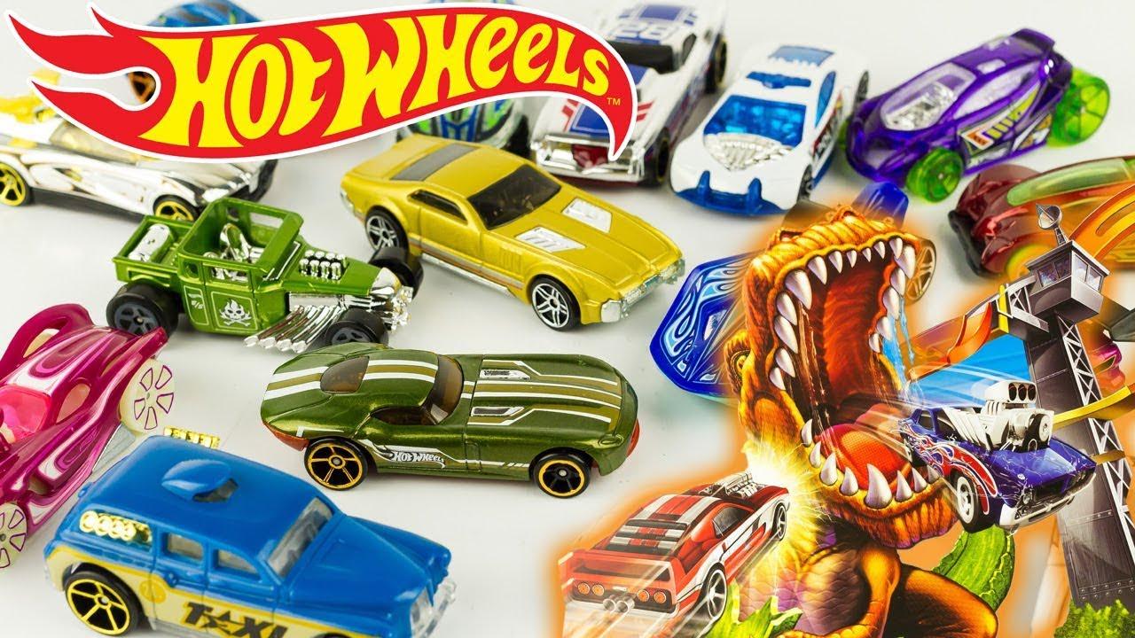 Hot Wheels T-Rex Attaque Takedown Trackset Part 1: 18 Diecast Cars Toy  Review Juguetes à Voiture Requin Jouet