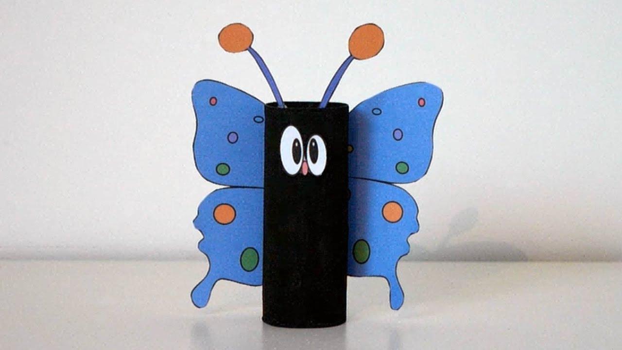 Housing For Children - Pretty Butterfly With Toilet Roll - Manual Activity serapportantà Activité Manuelle En Papier