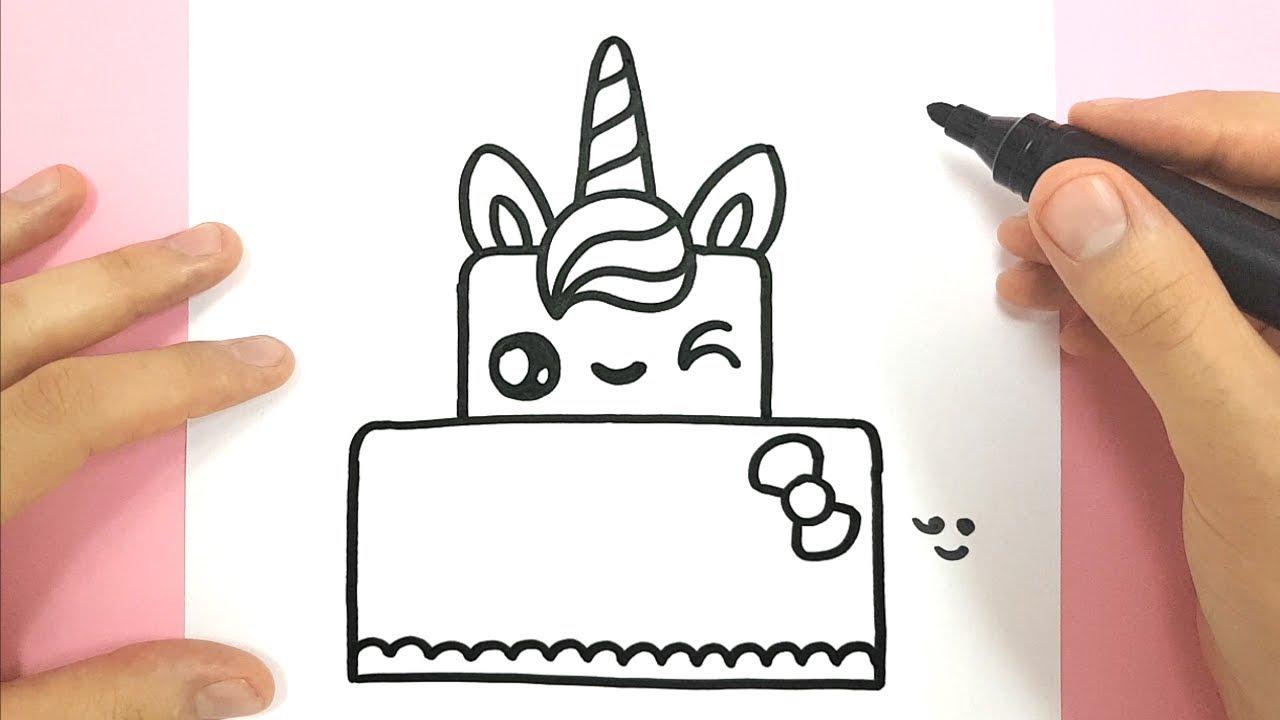 How To Draw A Cute Unicorn Cake destiné Modèles De Dessins À Reproduire