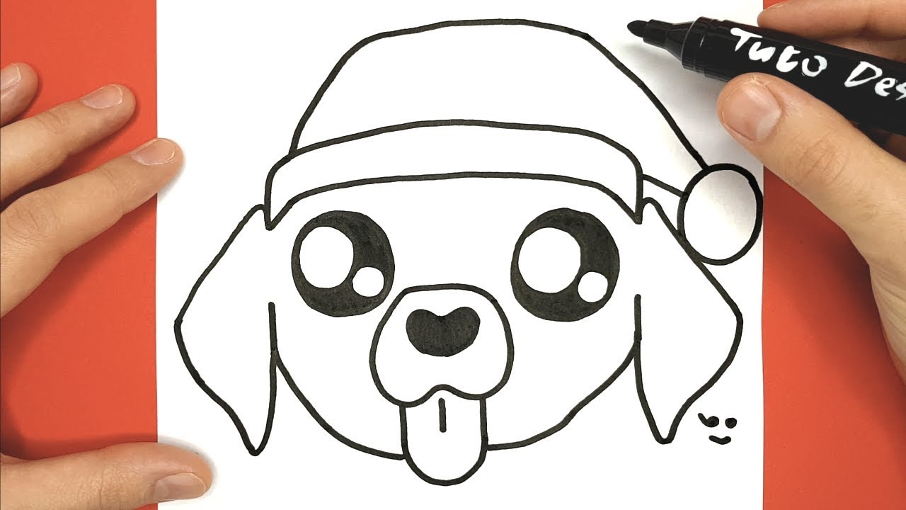 How To Draw And Color Baby Dog With Christmas Hat destiné Coloriage De Chiot A Imprimer