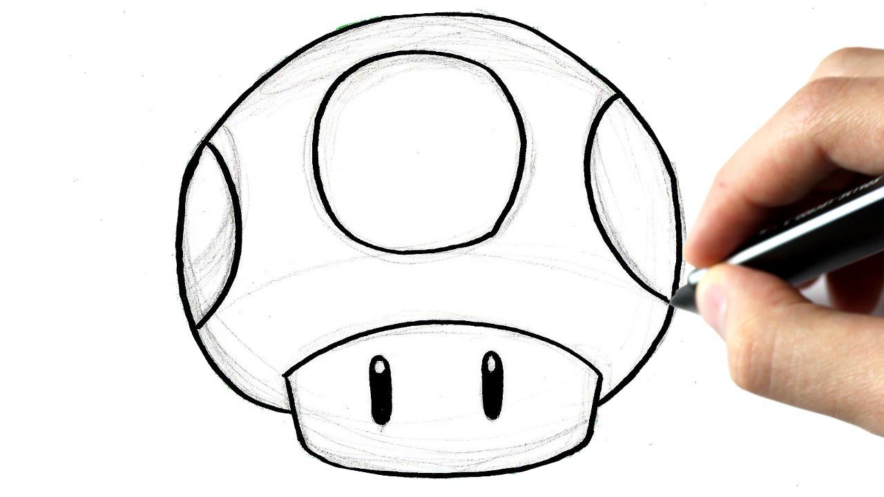 How To Draw Mario Mushroom Step By Step concernant Dessiner Un Champignon