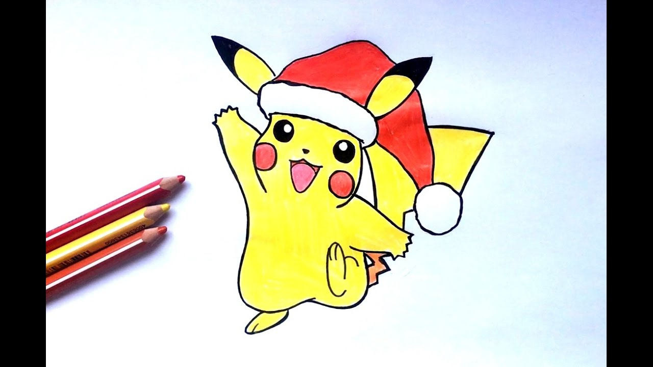 How To Draw Pikachu Christmas (Pokémon) concernant Dessin De Pikachu Facile
