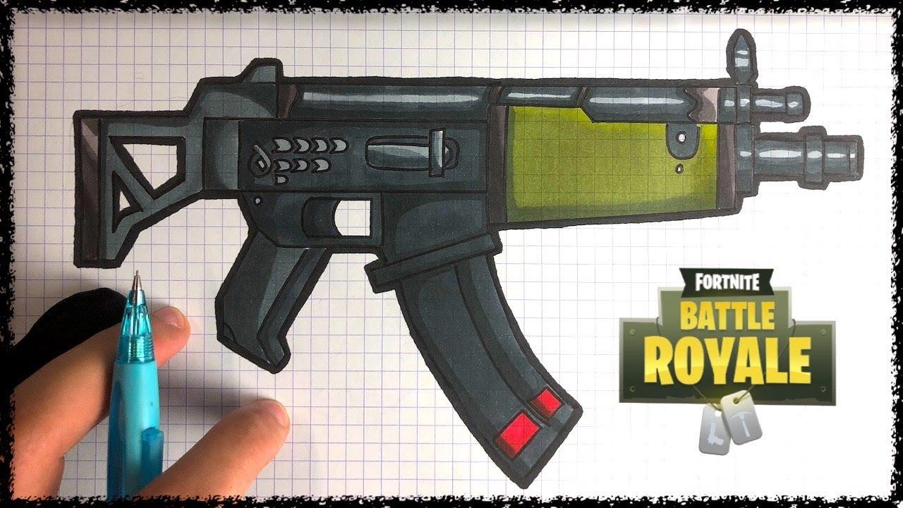 How To Draw Submachine Gun - Fortnite intérieur Comment Dessiner Un Fusil