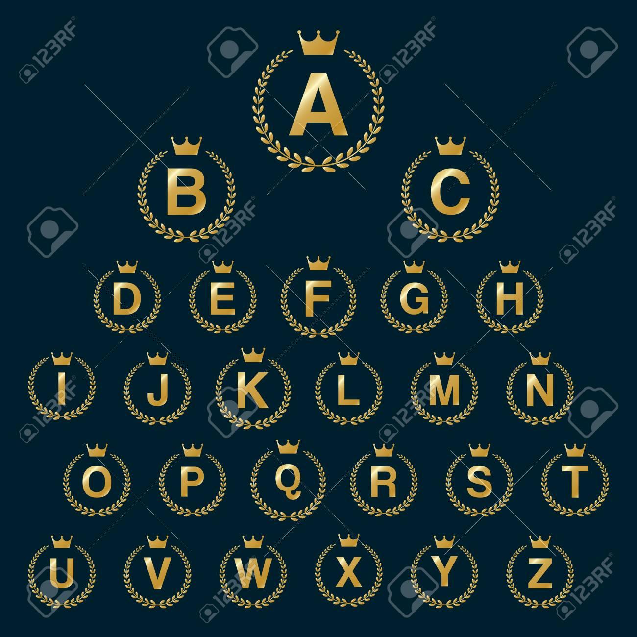 Icône De Couronne De Laurel Avec Des Lettres De L'alphabet Majuscule.  Éléments De Modèle Golden Font Design - Lettre A À Z dedans Modele Alphabet Majuscule