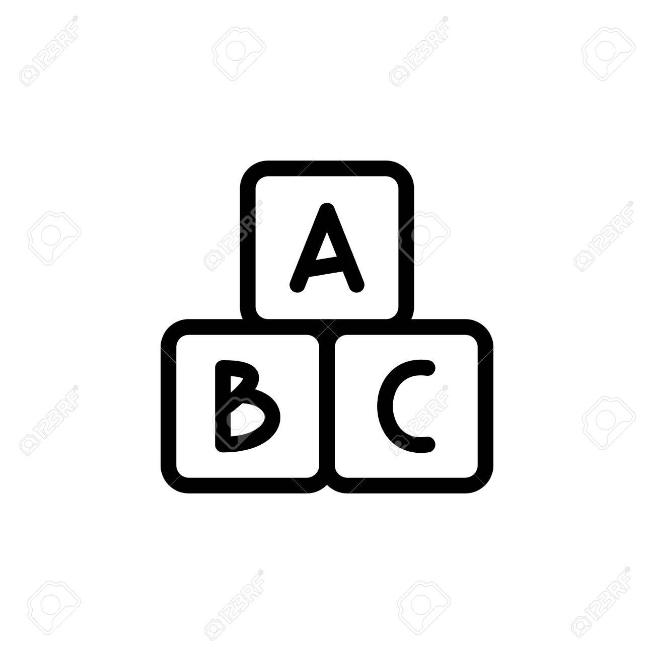 Icône De Fine Ligne Cubes Alphabet. Contour Symbole Bébé Développement D'un  Jeu Pour La Conception De Webstie Et Applications Mobiles Pour Enfants. pour Jeux Pour Bébé En Ligne