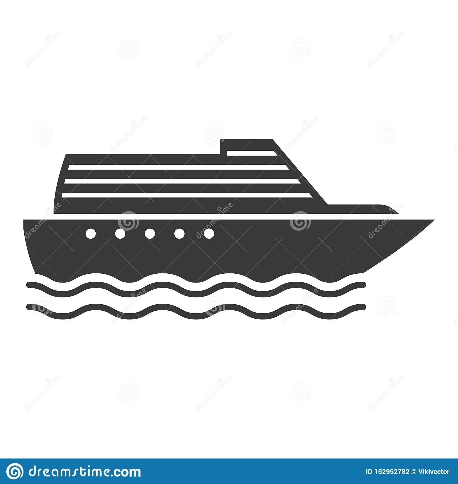 Icône De Noir De Bateau À Vapeur, Symbole De Navire Conduit à Paquebot Dessin