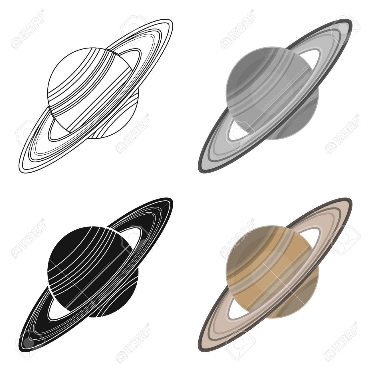 Icône De Saturne En Dessin Animé Isolé Sur Fond Blanc. Planètes Symbole  Illustration Vectorielle Stock. tout Saturne Dessin