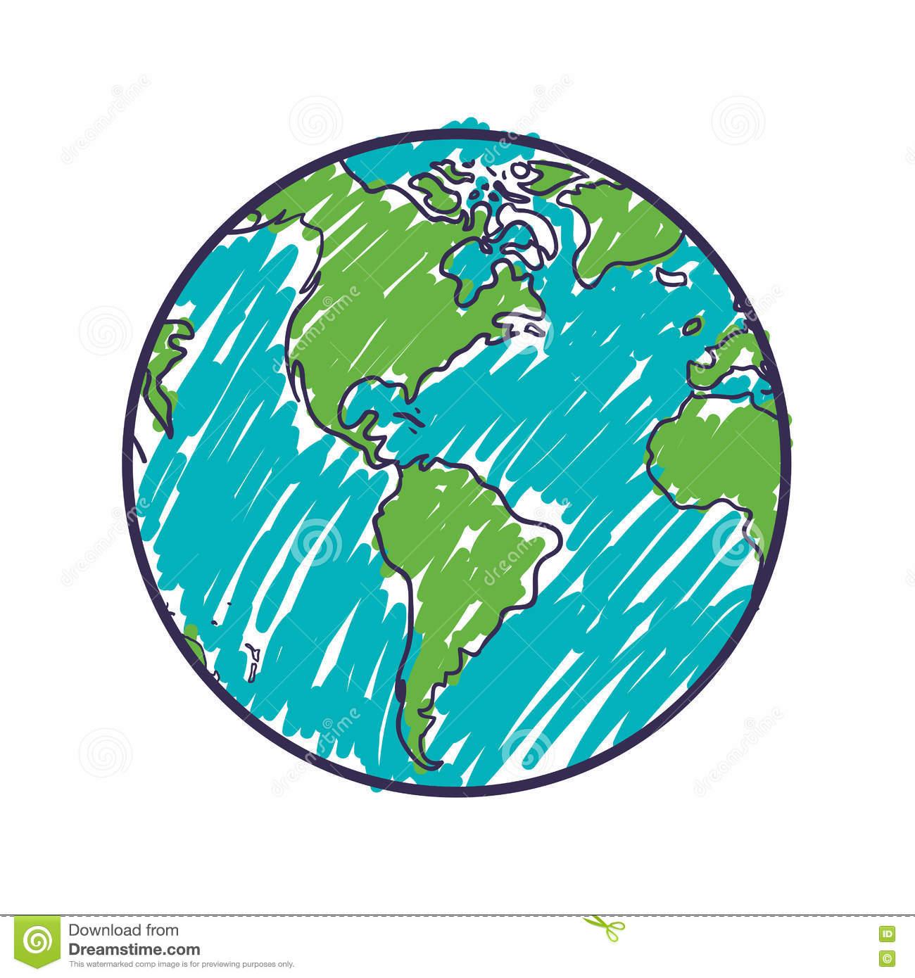 Icône De Sphère Du Monde De La Terre De Carte De Planète tout Image De La Terre Dessin