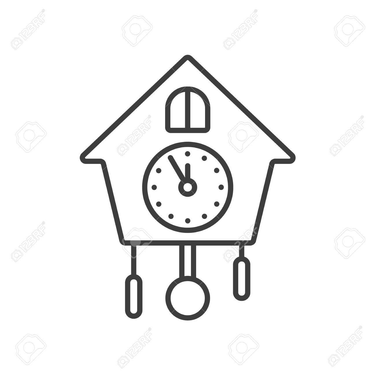 Icône Linéaire D'horloge Murale. Illustration De La Fine Ligne. Symbole De  Contour. Dessin De Contour Isolé Vectoriel pour Dessin D Horloge