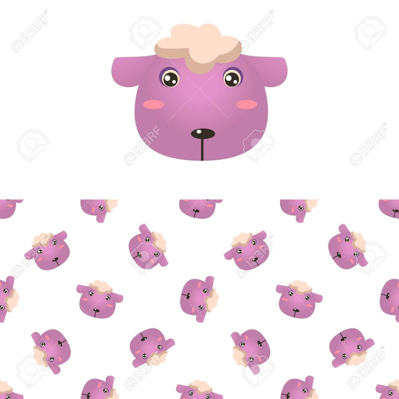 Icône Mouton Tête Et Motif Décoratif Seamless Dans Childish Flat Style  Vector Imprimer Sur Fond Blanc encequiconcerne Photo De Mouton A Imprimer