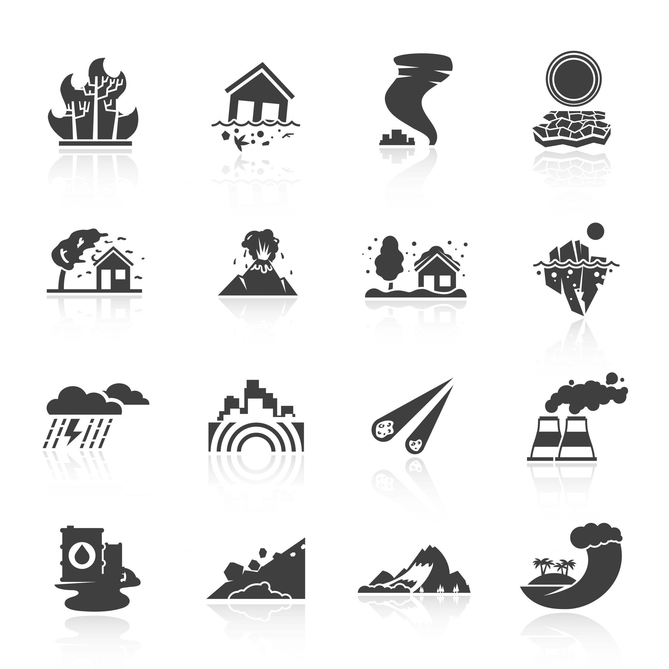 Icônes De Catastrophes Naturelles - Telecharger Vectoriel pour Jeux De Catastrophe Naturel Gratuit