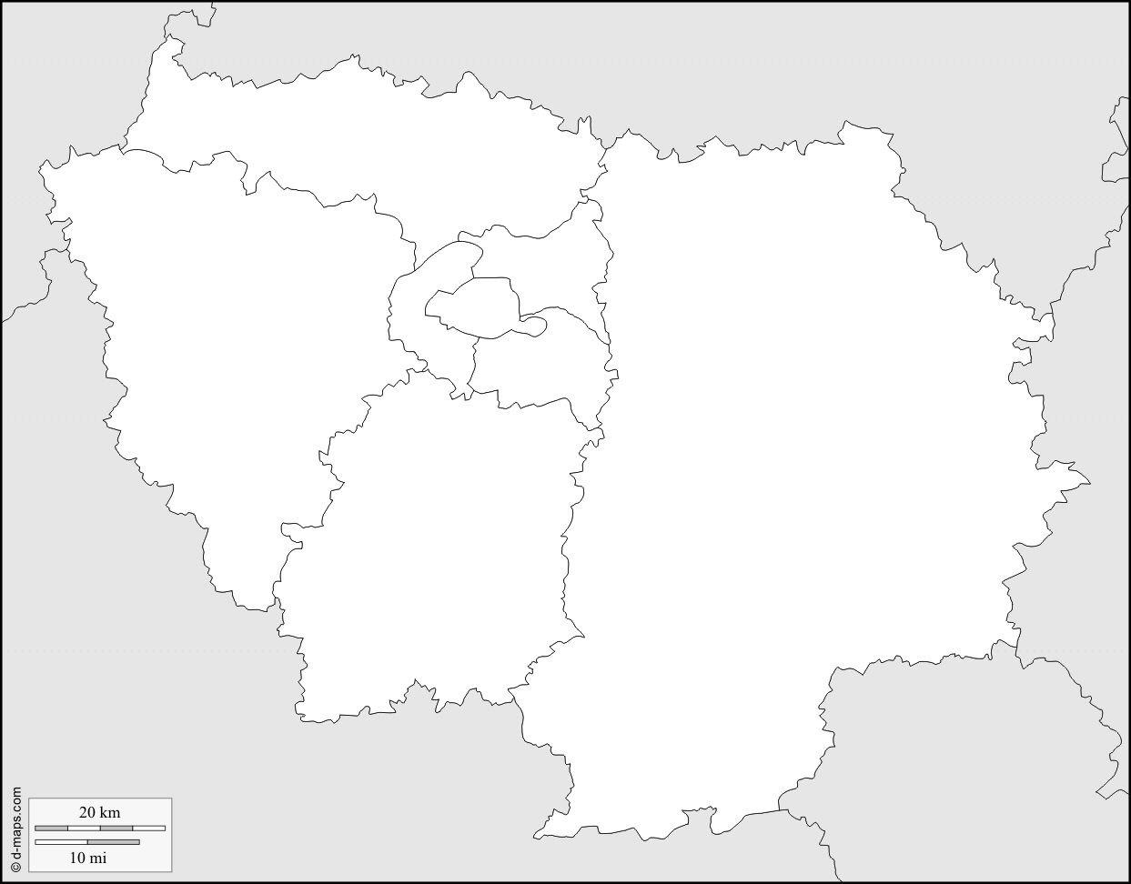 Ile De France Carte Vierge » Vacances - Arts- Guides Voyages destiné Carte Des Régions De France Vierge