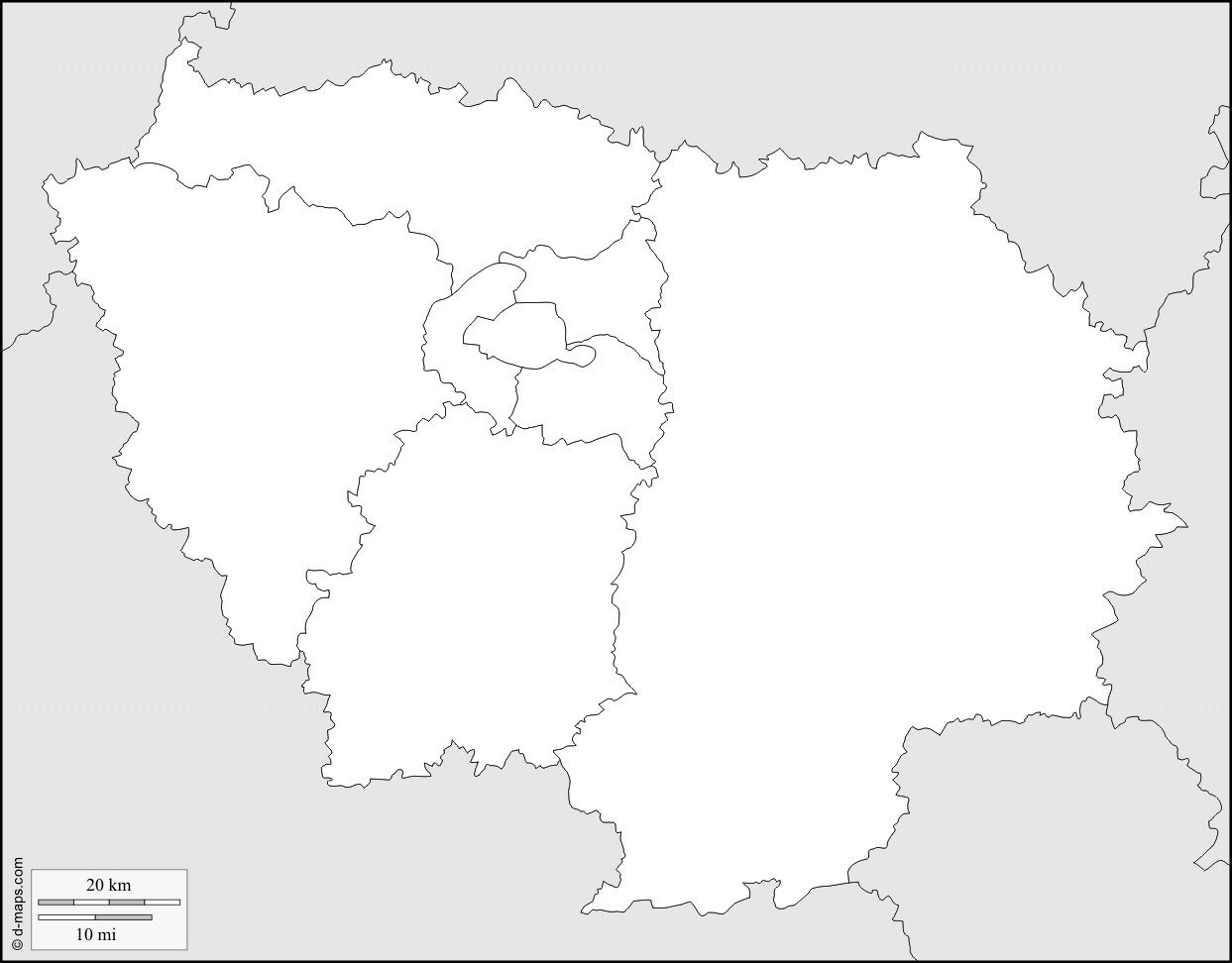 Ile De France Carte Vierge » Vacances - Arts- Guides Voyages pour Carte France Région Vierge