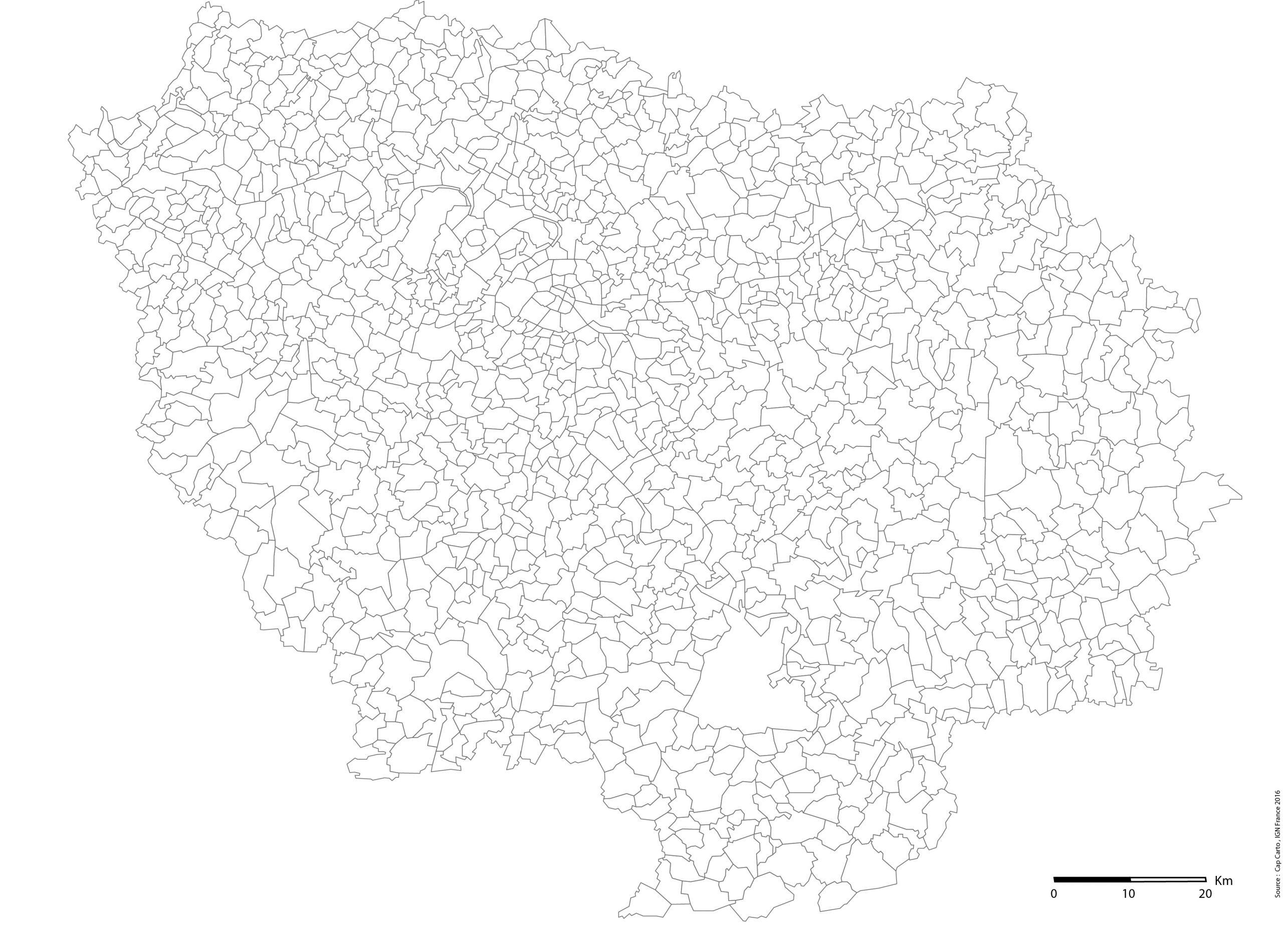 Ile-De-France-Communes-Echelle-Vierge - Cap Carto à Carte Vierge De La France