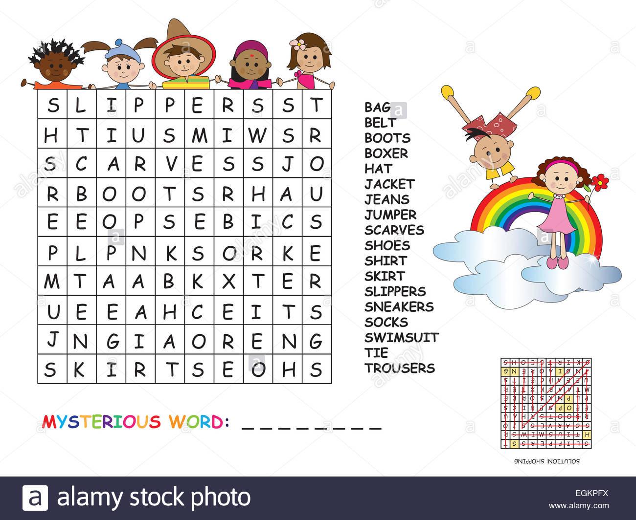 Illustration Avec Jeu Pour Les Enfants : Mots Croisés Banque tout Jeux De Mots Enfants