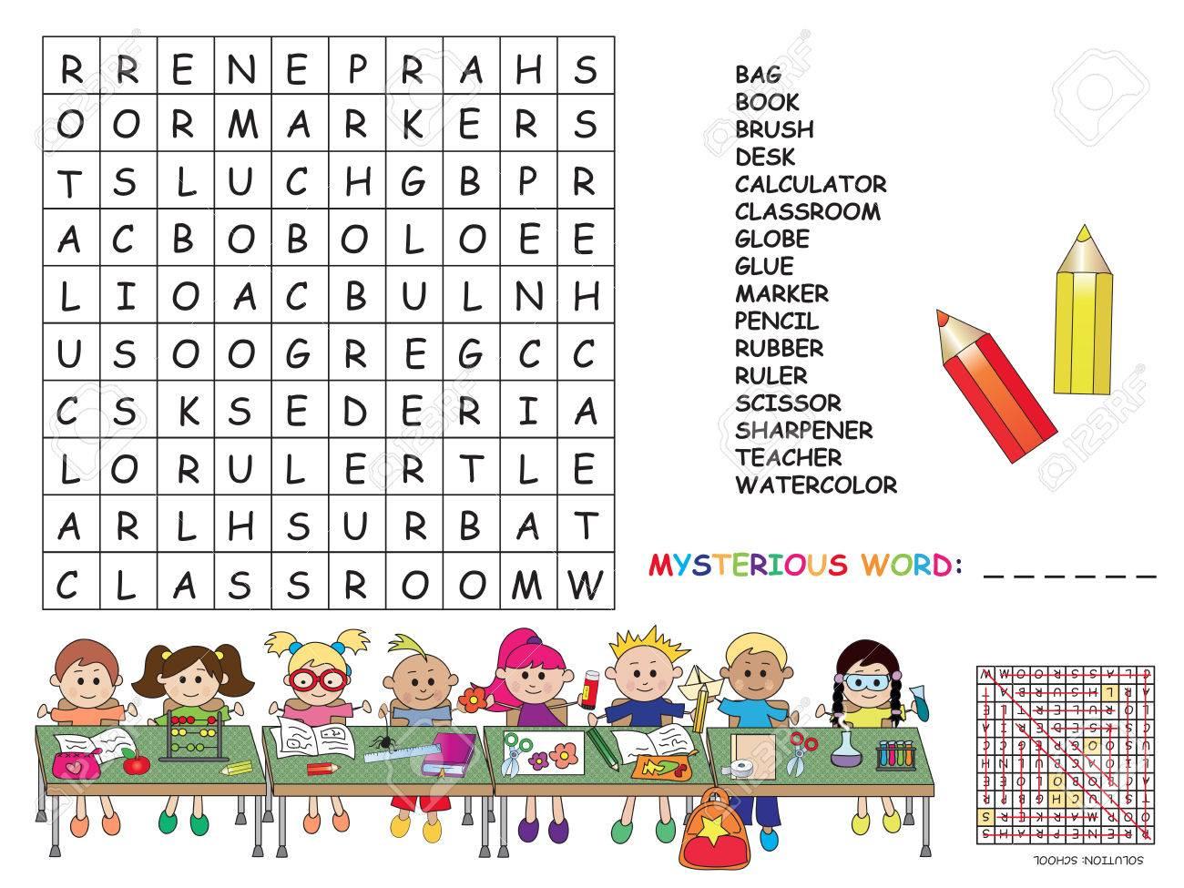 Illustration Avec Le Jeu Pour Les Enfants: Mots Croisés. destiné Jeux De Mots Pour Enfants