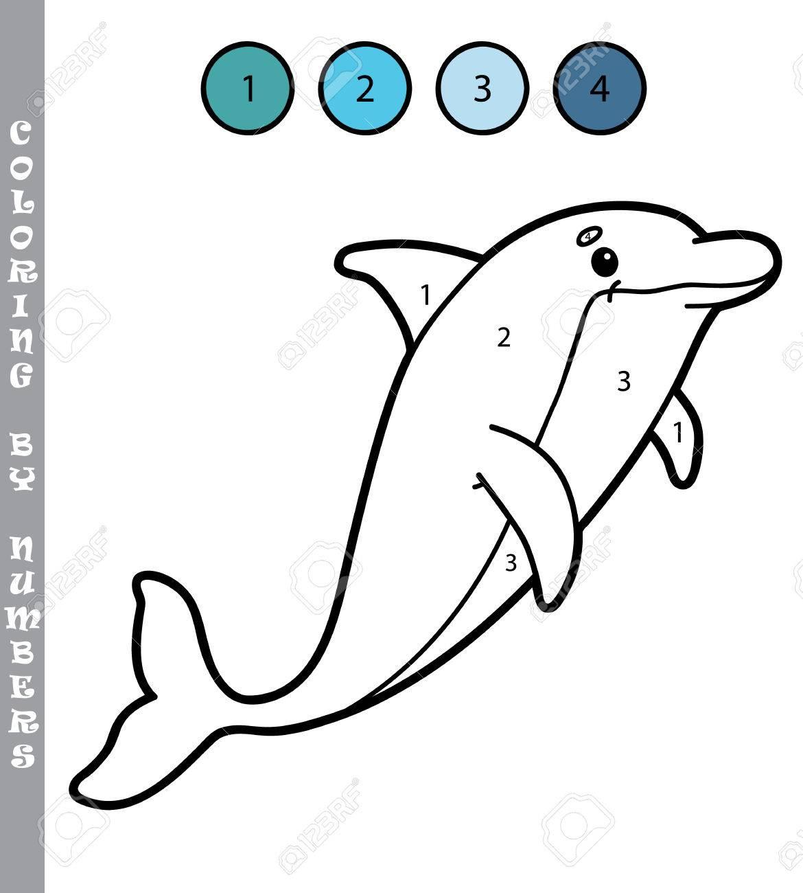 Illustration Coloriage Par Numéros Jeu Éducatif Avec Dessin Animé Dauphin  Pour Les Enfants pour Dessin De Dauphin À Colorier