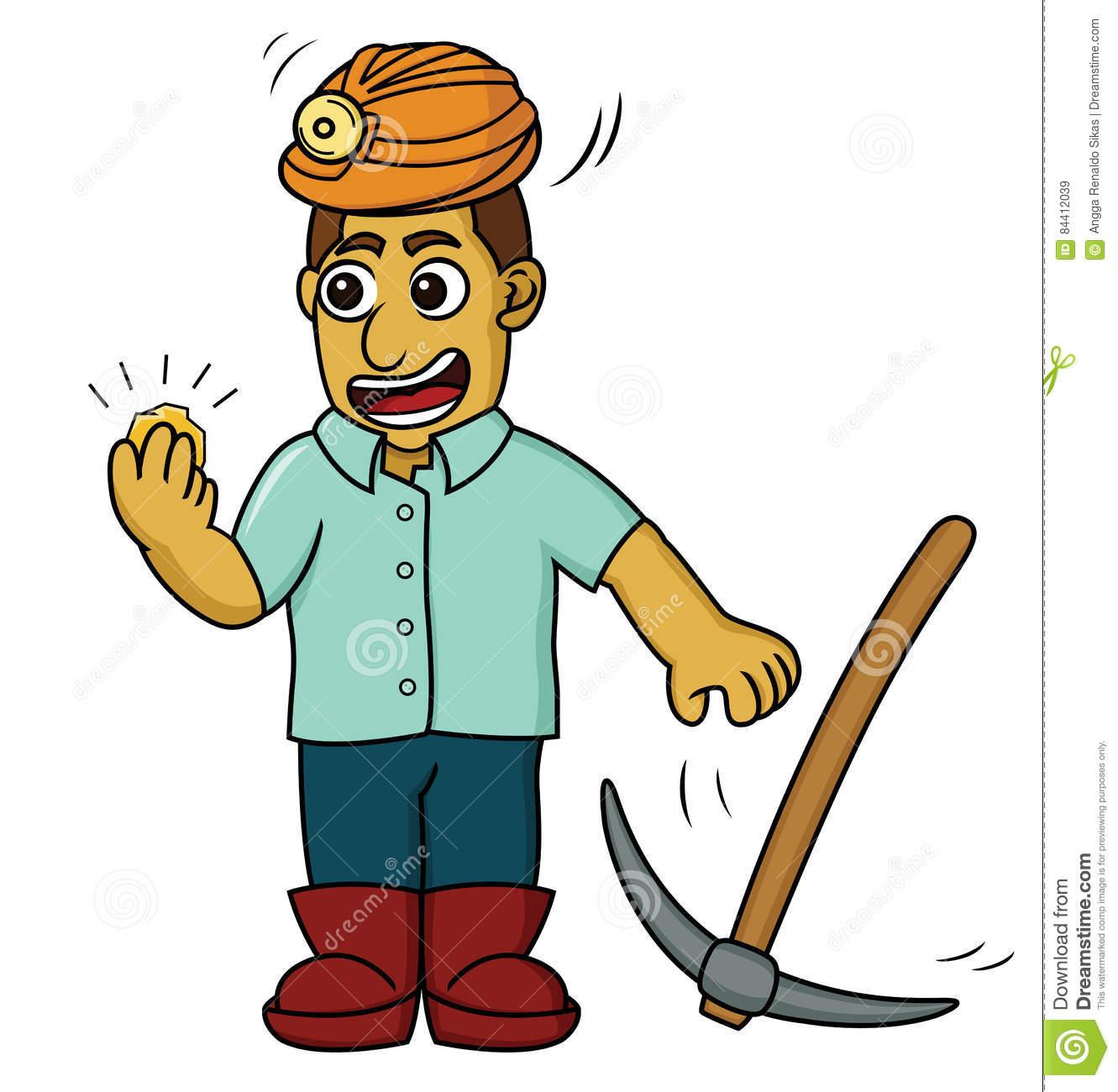Illustration De Bande Dessinée D'un Mineur D'or Heureux concernant Mineur D Or