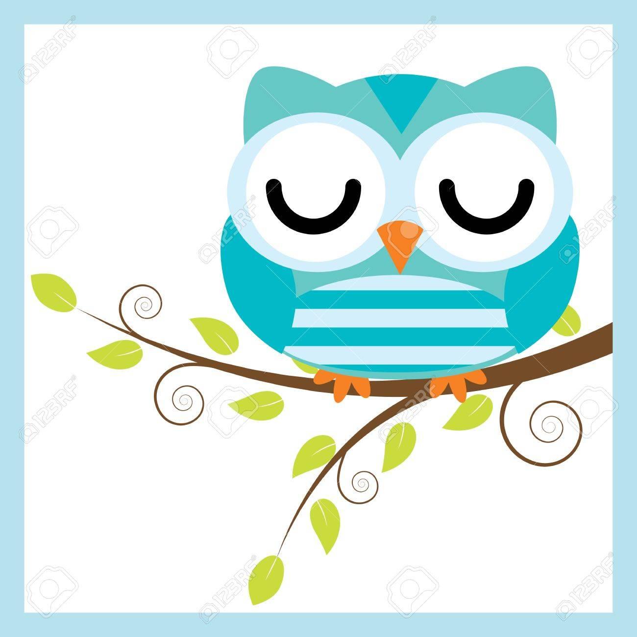 Illustration De Dessin Animé Avec Hibou Mignon Dormir Sur Une Branche  D'arbre. serapportantà Dessiner Un Hibou