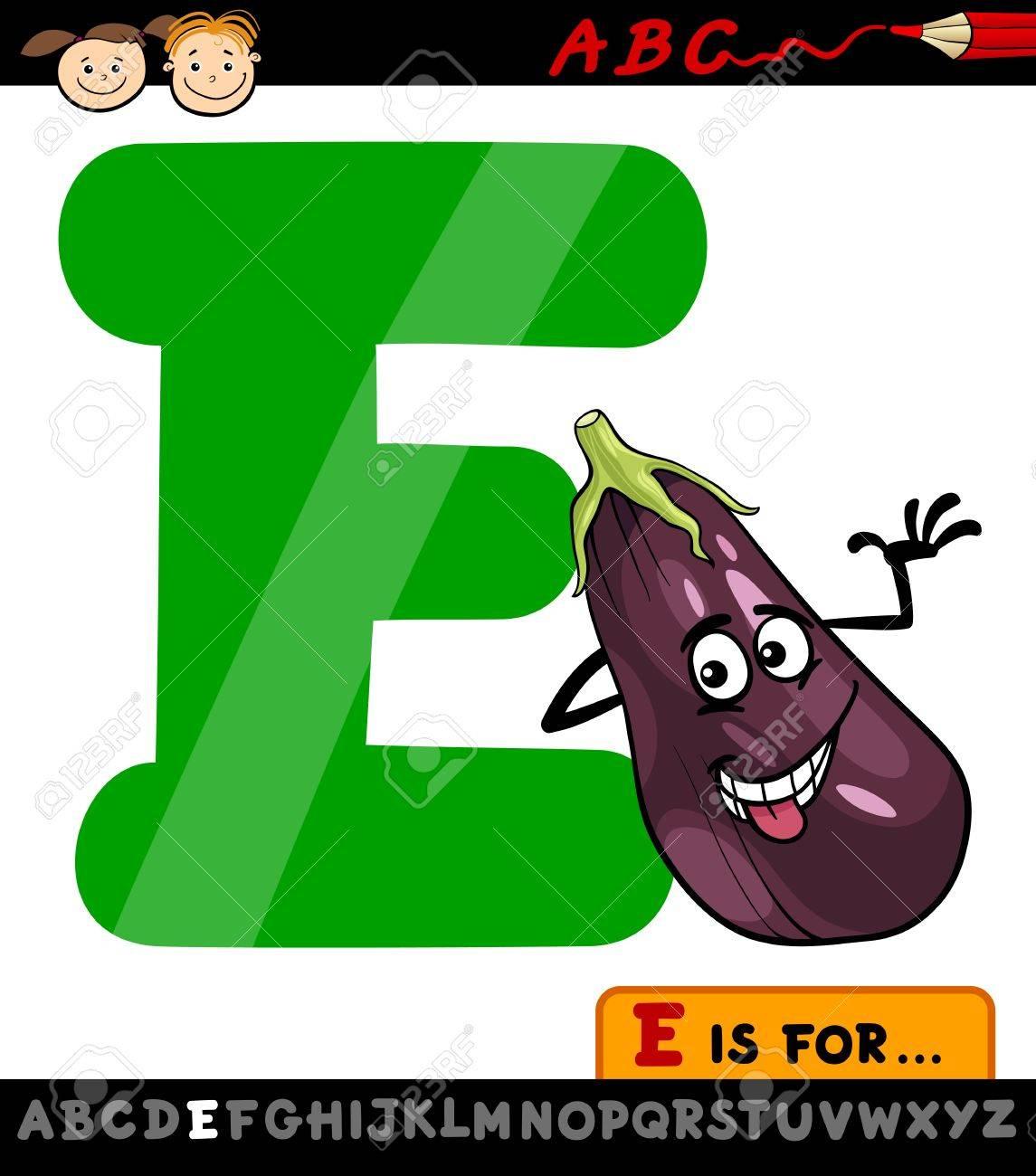 Illustration De Dessin Animé De La Capitale Lettre E De L'alphabet À  L'aubergine Pour Les Enfants Education destiné Dessin Lettre E