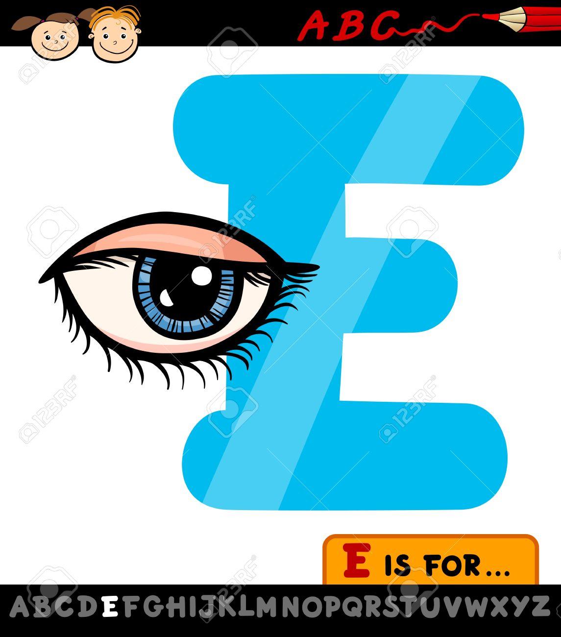 Illustration De Dessin Animé De La Capitale Lettre E De L'alphabet Avec Des  Yeux D'enfants Éducation à Dessin Lettre E