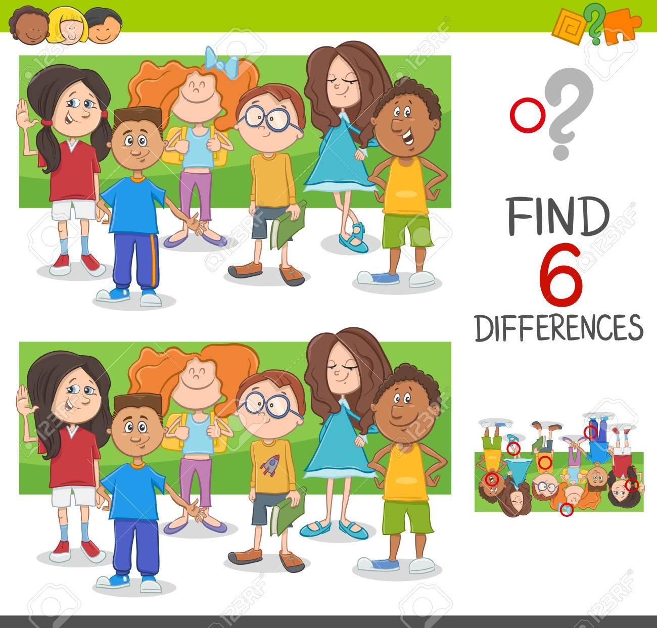 Illustration De Dessin Animé De Repérer Le Jeu Éducatif De Différences Avec  Le Groupe De Caractères Des Enfants D'âge Élémre pour Les Jeux Educatif