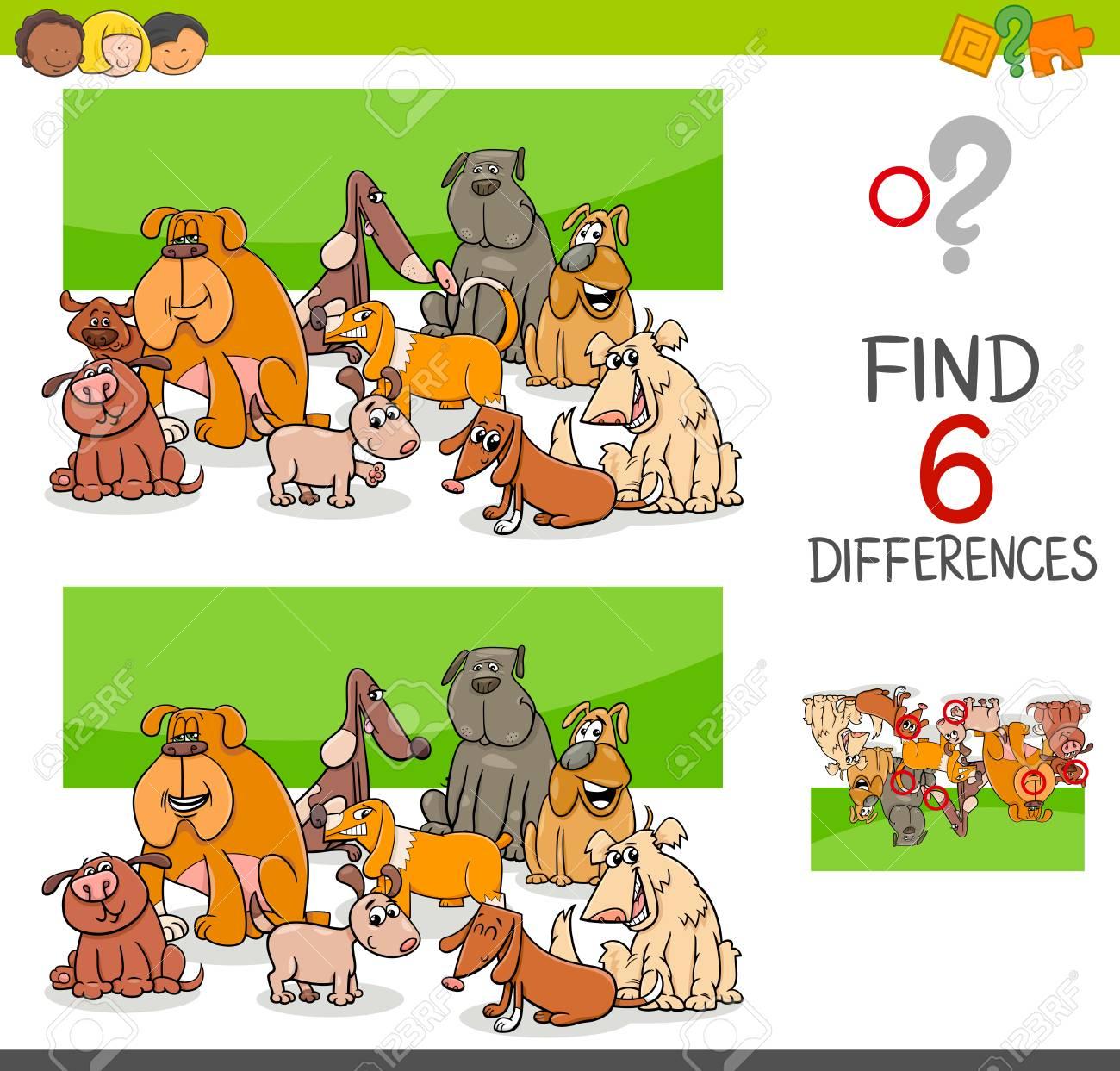 Illustration De Dessin Animé De Repérer Le Jeu Éducatif De Différences Pour  Les Enfants Avec Le Groupe De Caractères Animaux De Chien pour Les Jeux Educatif