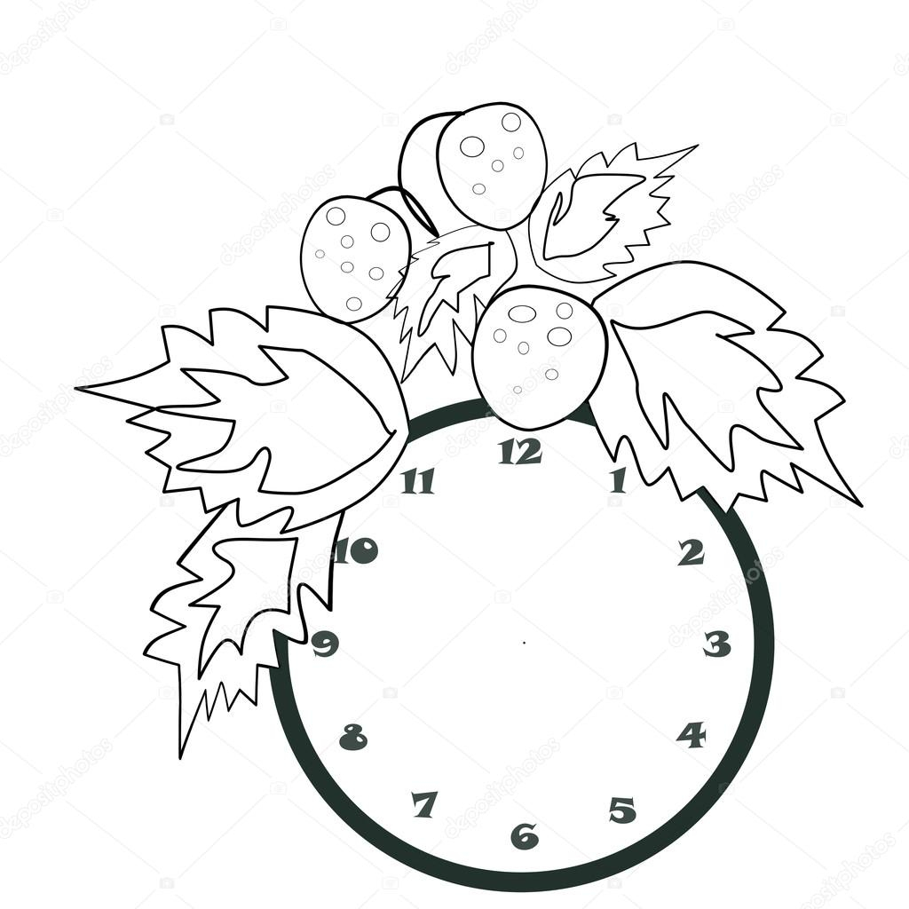 Illustration De Dessin Animé Noir Et Blanc D'horloge Pour pour Dessin D Horloge