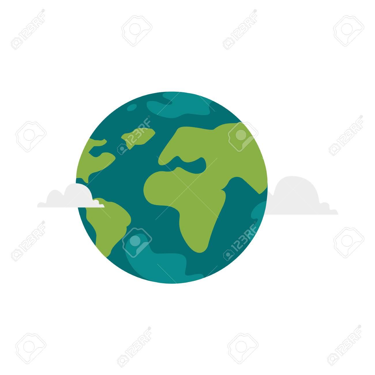 Illustration De Globe Plat Dessin Animé Vector Isolé Sur Fond Blanc.  Planète Terre Plate Avec Des Continents, Des Océans Et Des Nuages. Objet De serapportantà Image De La Terre Dessin