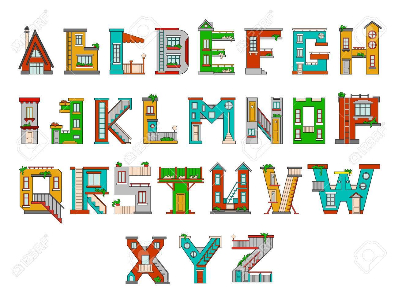 Illustration De L'alphabet Pour Enfants. Apprendre Des Lettres  D'apprentissage À La Maternelle À La Maternelle. Lettres Isolées intérieur Apprendre L Alphabet En Francais Maternelle