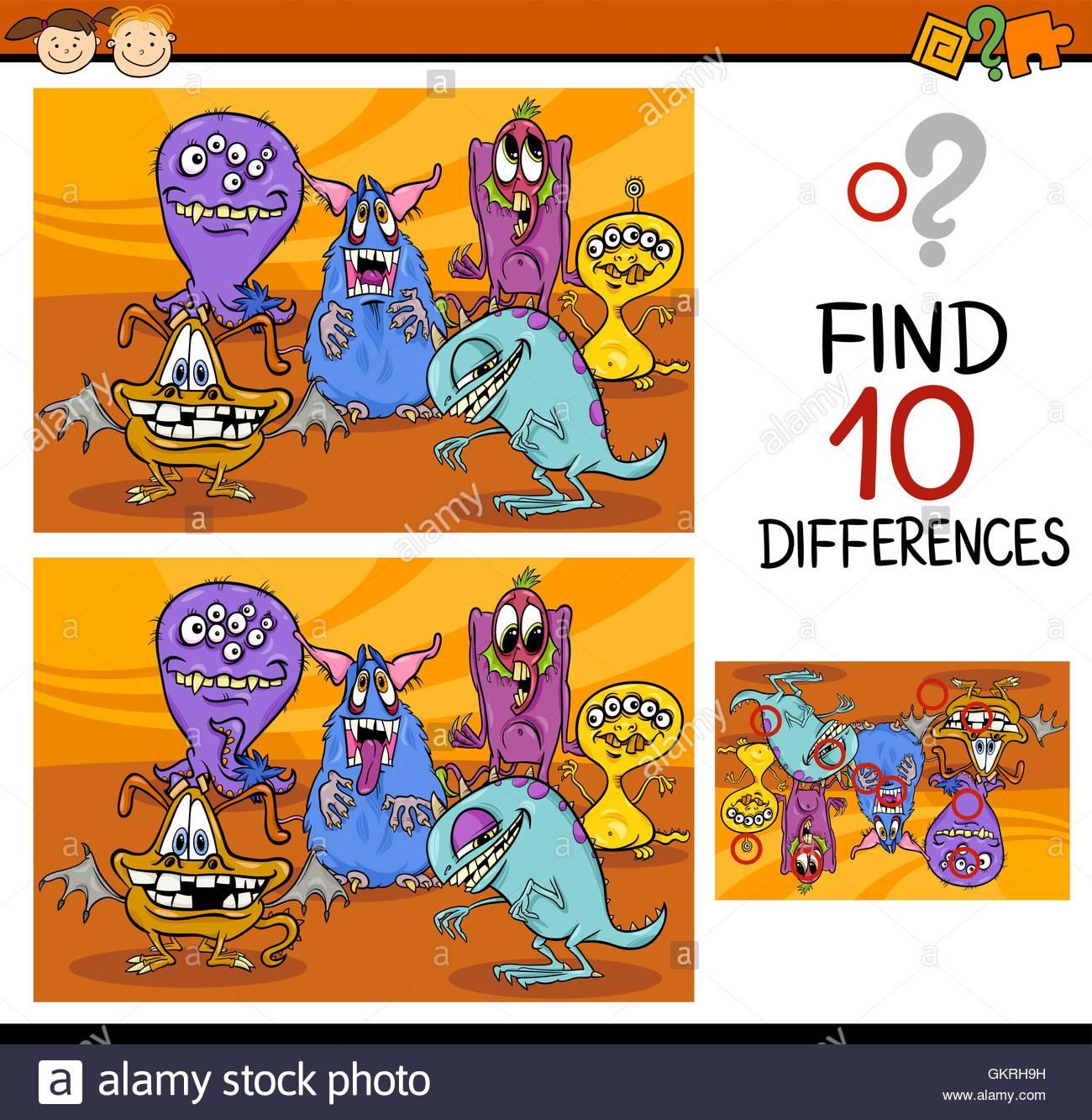 Illustration De L'éducation Trouver Différences Puzzle encequiconcerne Trouver La Différence