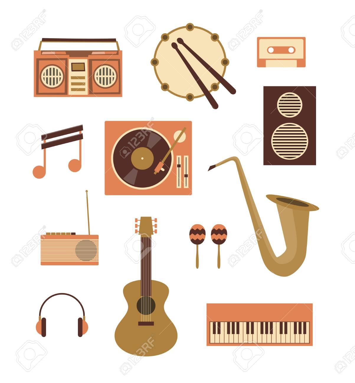 Illustration De Plat Vector, Jeu D'icônes De Musique: Enregistreur,  Tambour, Cassette Audio, Note, Platine Vinyle, Haut-Parleur Radio Guitare  Maracas avec Jeu Des Instruments De Musique