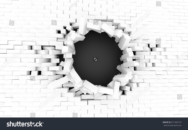 Illustration De Stock De Mur De Brique Blanche Cassé Avec serapportantà Casse Brique Gratuit En Ligne