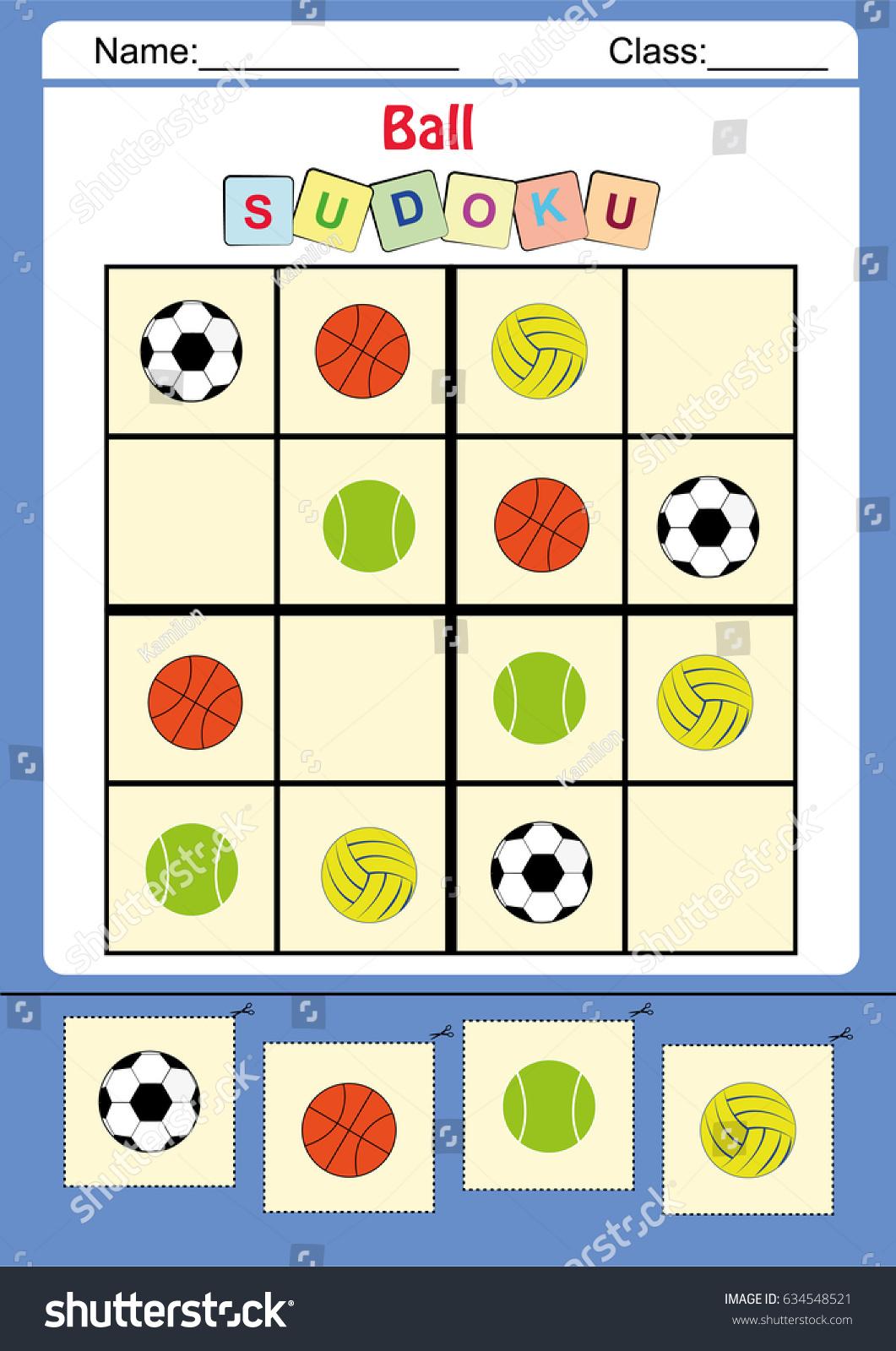 Illustration De Stock De Picture Sudoku Kids Worksheet dedans Sudoku Animaux À Imprimer