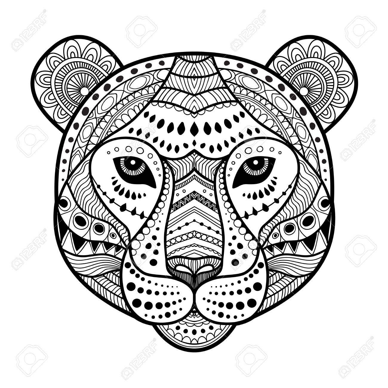 Illustration De Style Art Tête Zen Tigre, Imprimer En Noir Et Blanc.  Coloriage Adulte tout Image Zen A Imprimer