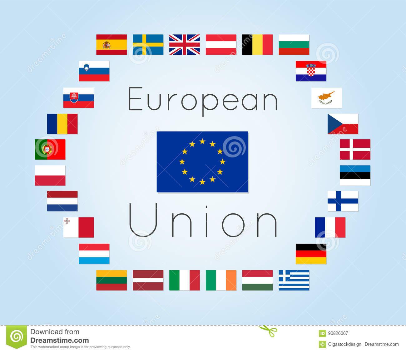 Illustration De Vecteur Des Drapeaux De Pays De L'union intérieur Carte Union Européenne 28 Pays