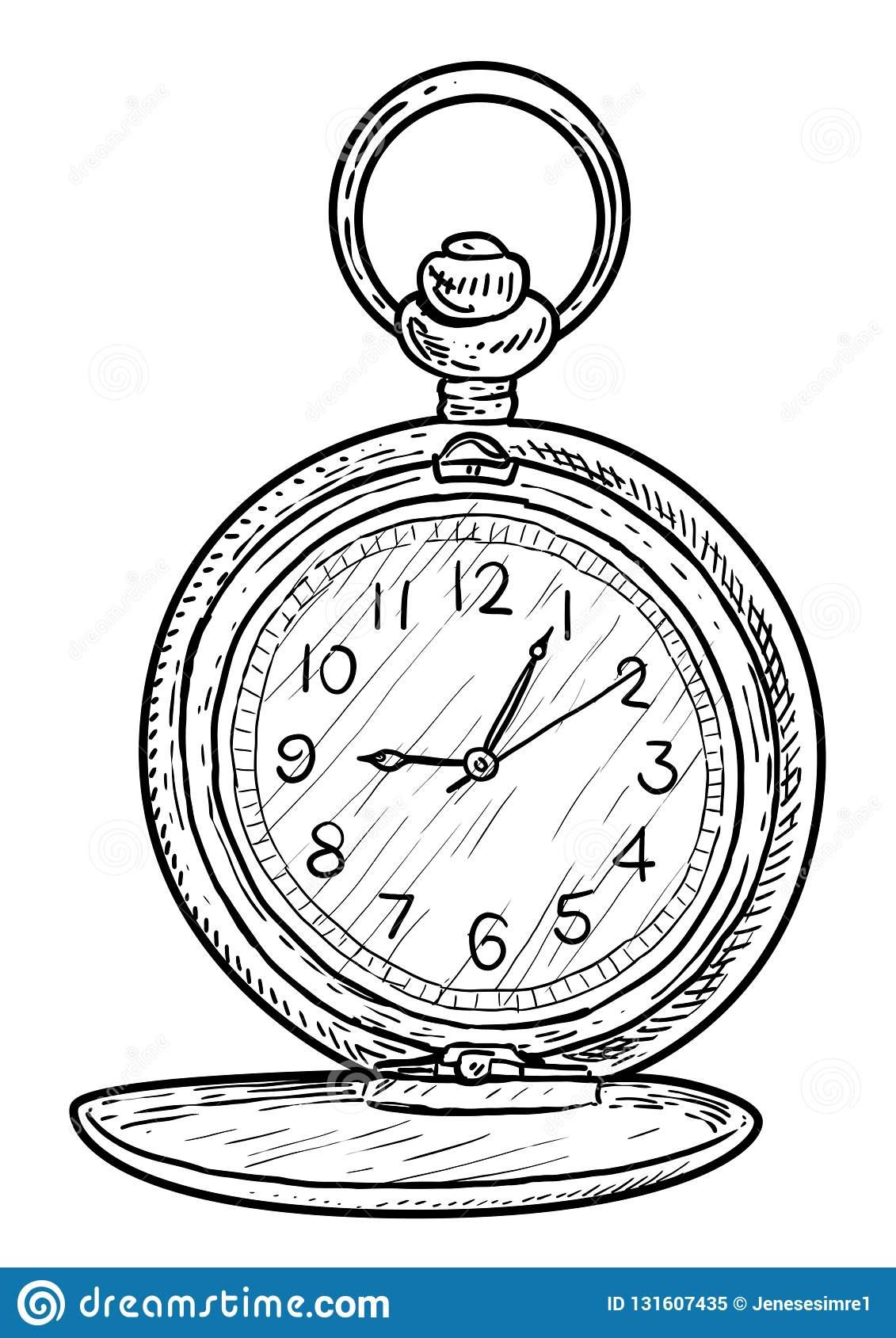 Illustration D'horloge De Poche, Dessin, Gravure, Encre à Dessin D Horloge
