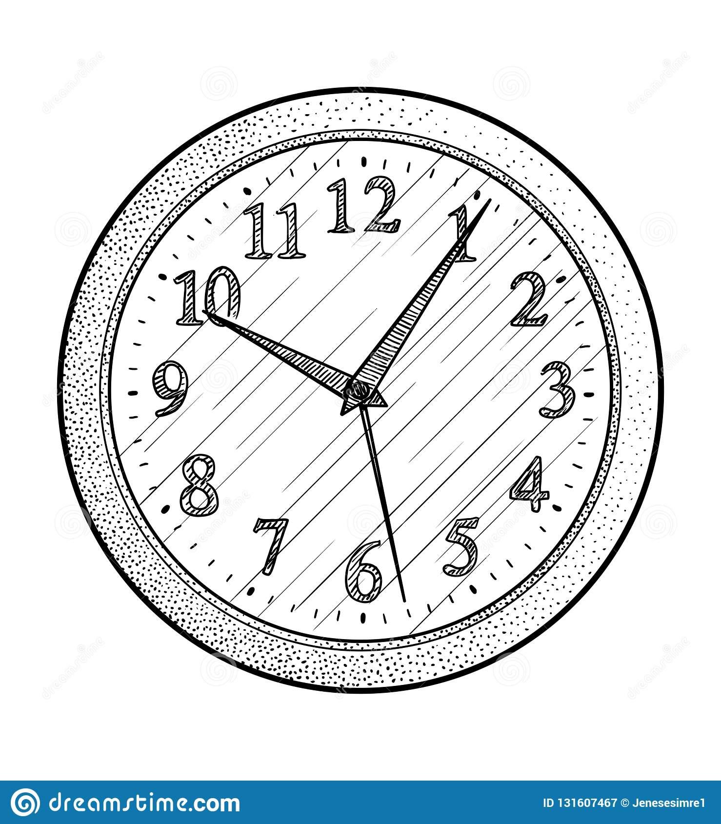 Illustration D'horloge Murale, Dessin, Gravure, Encre pour Dessin D Horloge