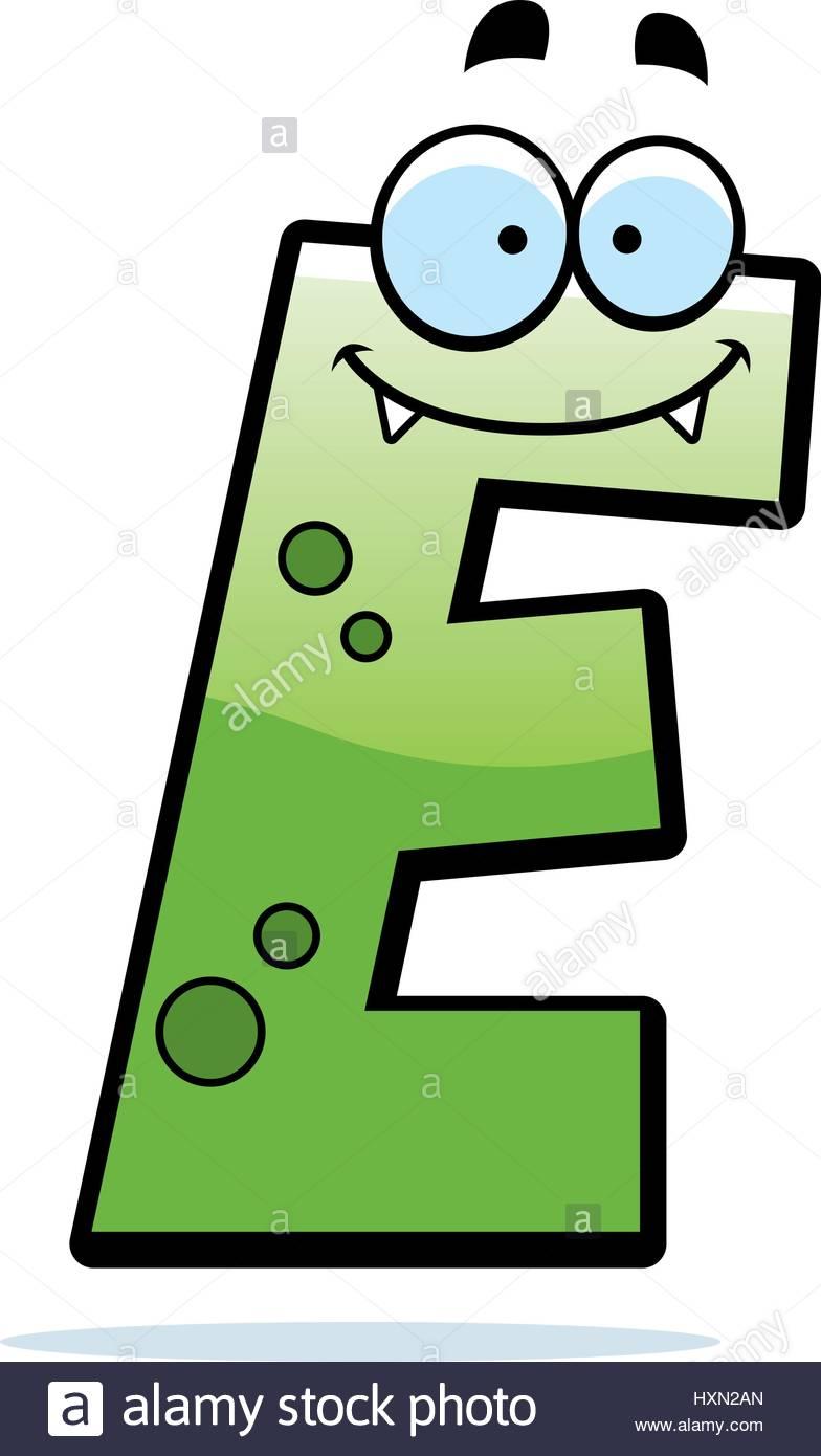 Illustration D'un Dessin D'une Lettre E Monster Souriant Et avec Dessin Lettre E