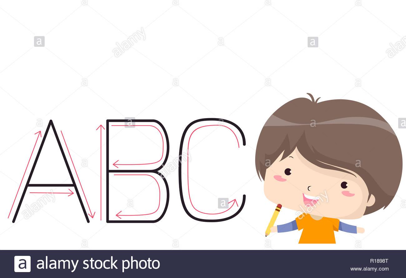 Illustration D'un Enfant Garçon Apprendre À Écrire En concernant Apprendre A Ecrire Les Lettres En Majuscule