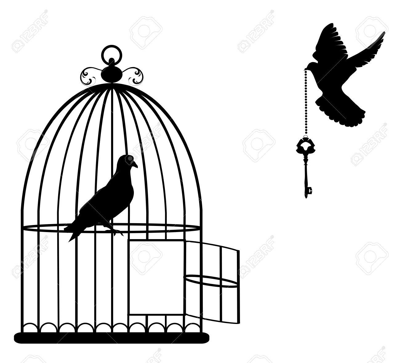 Illustration D'une Cage D'oiseau Ouvert Avec Des Colombes Volant Avec Une  Clé à Dessin De Cage D Oiseau