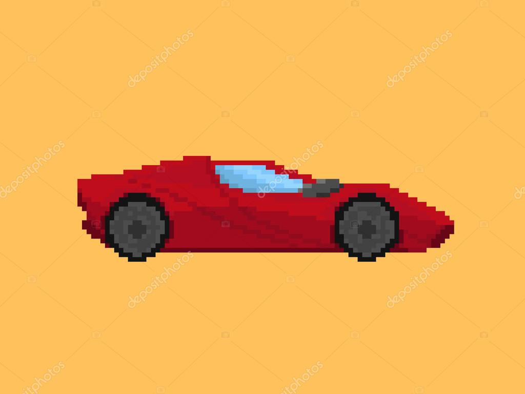 Illustration Of Red Sport Car In Pixel Art Style — Stock pour Voiture Pixel Art