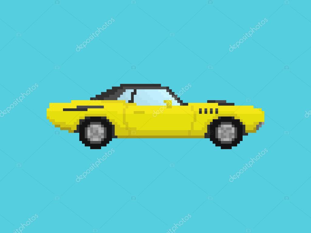 Illustration Of Yellow Sport Car In Pixel Art Style — Stock intérieur Voiture Pixel Art