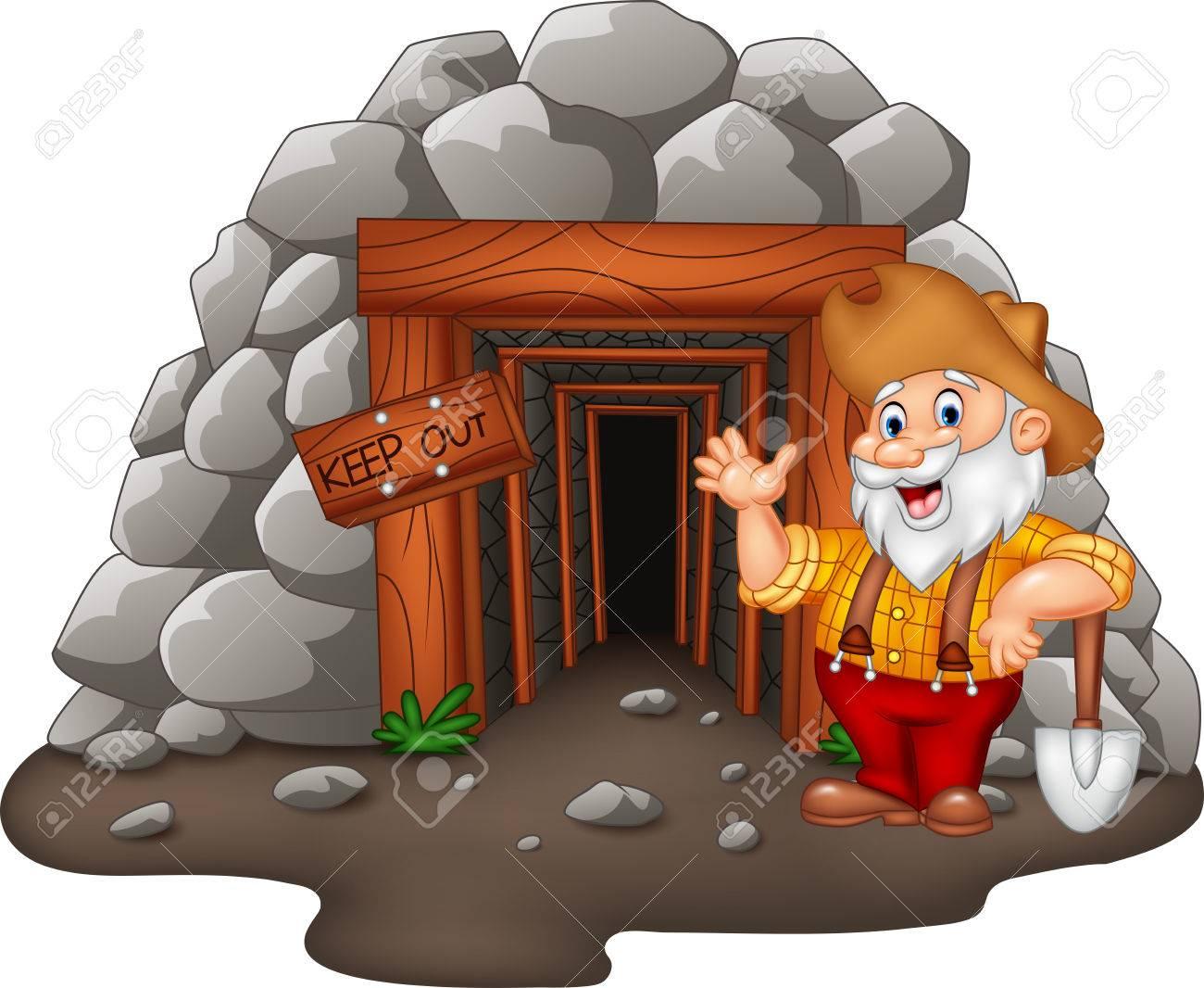 Illustration Vectorielle De L'entrée De La Mine Cartoon Avec Un Mineur D'or pour Mineur D Or