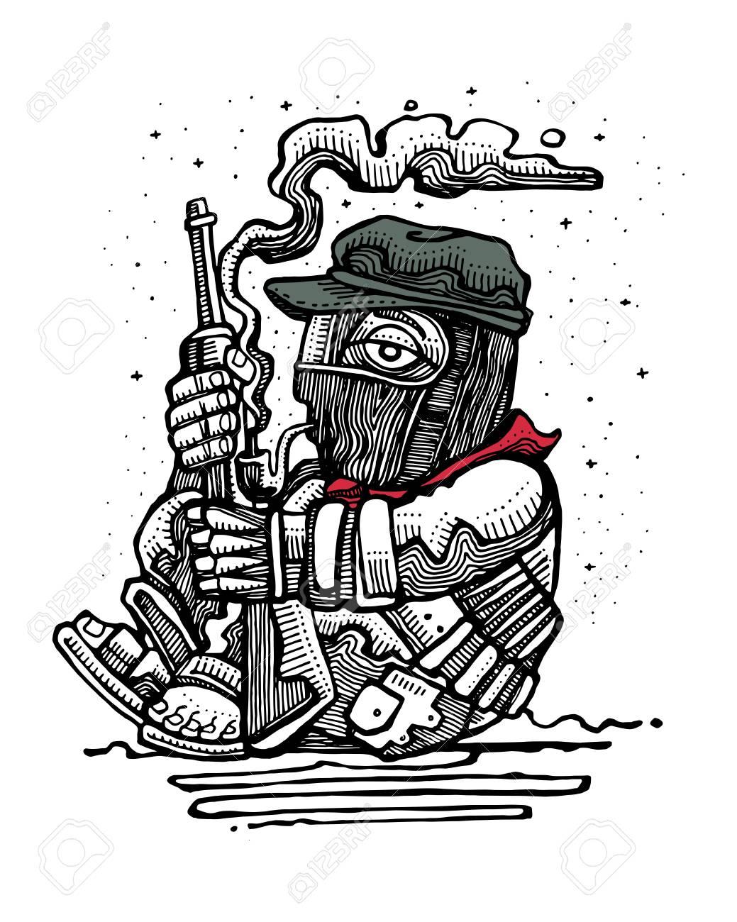 Illustration Vectorielle Dessinés À La Main Ou Dessin D'un Soldat Rebelle  Zapatiste Mexicain Avec Fusil intérieur Dessin De Rebelle