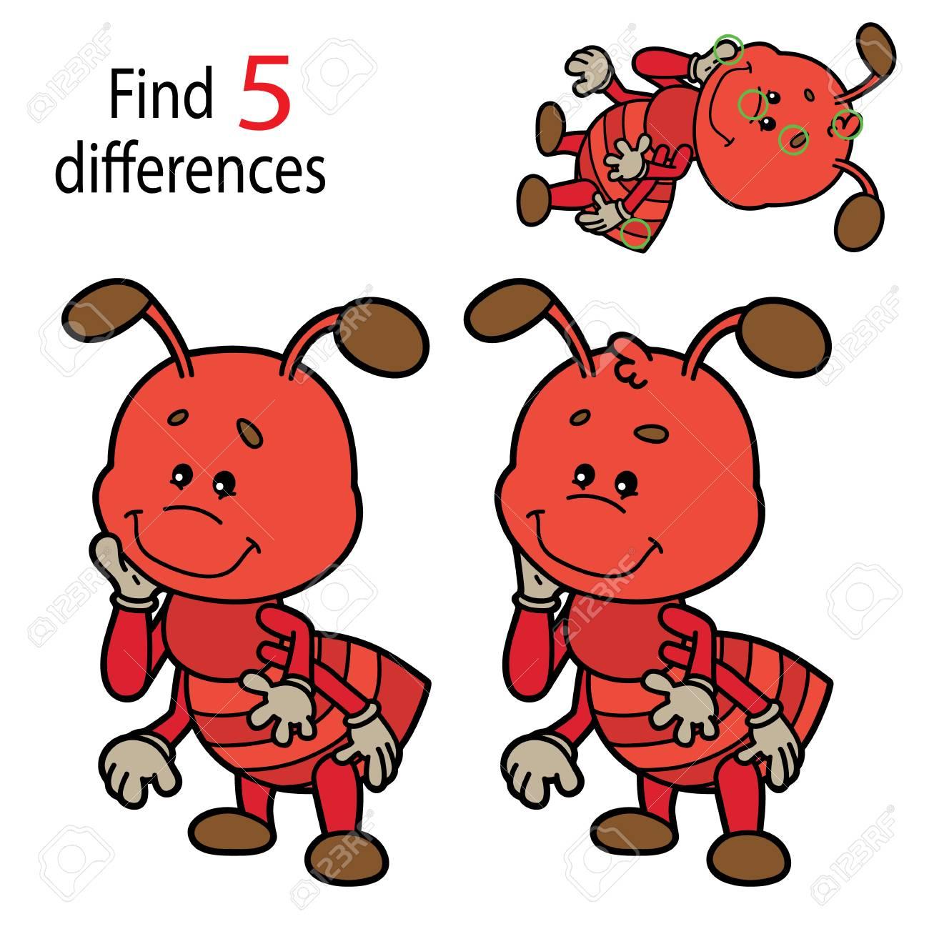 Illustration Vectorielle Du Jeu Éducatif Pour Enfants Puzzle Trouvez 5  Différences Pour Les Enfants D'âge Préscolaire concernant Les 5 Differences